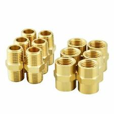 12 PCS Brass Pipe Fitting,Hex Nipple Tone,3/8