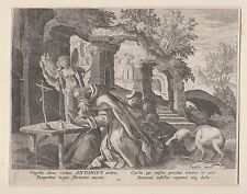 Sadeler tentazione del Santo Antonio Egitto chiave in rame 1585 Maerten de vos