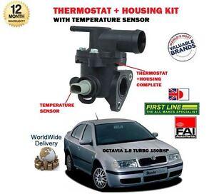 FOR SKODA OCTAVIA 1.8 150BHP 1999-2004 NEW THERMOSTAT + HOUSING + SENSOR KIT