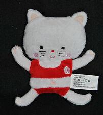 Peluche Doudou Chat MILAN Jeunesse 2008 Blanc Rouge 15 Cm Etat  NEUF