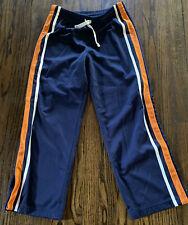GAP Boy's Track Athletic Pants XL 12 Navy Orange/White Stripes Snap Ankles  VGC!