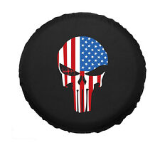 "16"" Spare Wheel Cover Tire Covers Skull Flag For RV Truck SUV Camper Canvas"