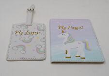 Faux Leather Unicorn Magic UK Kids Passport Holder Luggage Tag Travel Gift Set
