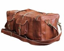New Men's genuine Leather luggage gym weekend overnight duffle bag large holdall