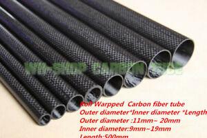 1-10pcs 3K Carbon Fiber Tube OD 11 12 13 14 15 16 17 18 19 20mm x 500mm DIY Rod