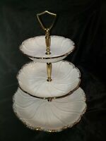 California Pottery T-31 white 3 Tier Tidbit Server with Gold Trim