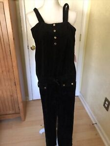 Juicy Couture Black Terry Strappy Romper 14 BWT