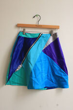 Hand Made Multi-Color Blue Green Silver Geometric Skirt Size S High Waist