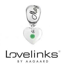 Genuine Lovelinks silver 925 May birthstone emerald bracelet charm and bag