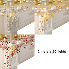 Cordless Lighted Berry-Beaded Holiday Party LED Garland Home Decoration Wedding
