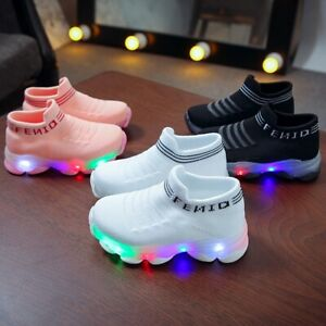 Children Baby Kids Girls Boys Letter Mesh Led Socks Sport Sneakers Casual Shoes