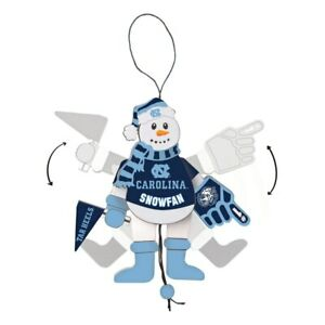 North Carolina Tar Heels Cheering Snowman Christmas Ornament Arms & Legs Move