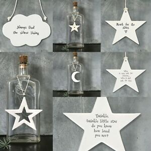 East of India White Porcelain Hanging STARS MOON CLOUD Inspirational Gift Decor