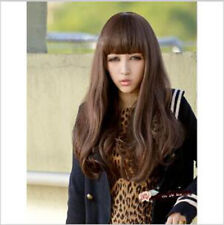Long Straight Wavy Ombre Brown Natural Synthetic Wigs With Bangs for Woman Lady