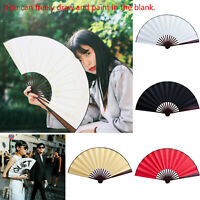 Large Chinese Folding Cloth Hand Fans Flower Pattern Summer Cool Vintage Gifts