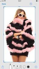 Rosa pelliccia di volpe CINCILLA 'REX Poncho zibellino Mink Bolero