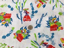 New listing Vtg Open Full Feedsack Quilt Fabric Cactus Sombrero Mexican Southwest 36� x 42�