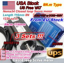 【USA】3x 8N.m Nema34 Closed Loop Servo Motor 116mm 6A&HSS86 Hybrid Driver CNC Kit