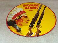"""VINTAGE """"SAVAGE ARMS"""" SHOTGUN & INDIAN 11 3/4"""" PORCELAIN METAL GASOLINE OIL SIGN"""