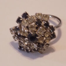 Vintage silver tone Sarah Coventry cluster adjustable ring size 7 (61)