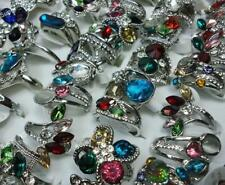 25pcs Rhinestone Silver Plated Rings Mixed Wholesale Fashion Lots Free Shipping