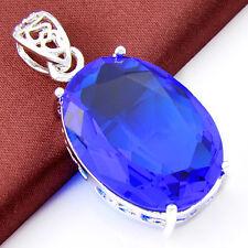 Sepcial Jewelry Gift Dark Blue Topaz Gemstone Silver Necklace Pendants