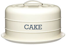 Kitchen Craft Cream Enamel Living Nostalgia Domed Cake Tin Serving Plate Stand