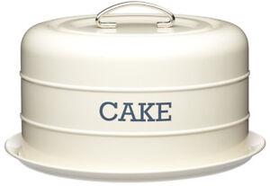 Kitchen Craft Cream Enamel Living Nostalgia Domed Cake Tin Serving Plate Stand