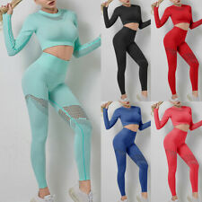 Women Seamless Yoga Set Gym Clothing Fitness Leggings Cropped Shirts Sport Suit.
