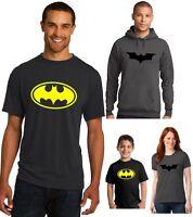 New Batman T-Shirt Men's Ladies Youth Vintage Classic logo Hoodie Yellow Black