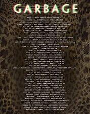 GARBAGE 2016 U.S. / EUROPEAN CONCERT TOUR POSTER - Alt./Electronic Rock Music