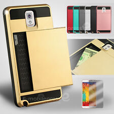 Card Pocket Slide ShockProof Slim Wallet case cover Samsung Galaxy Note 3 4 5 9