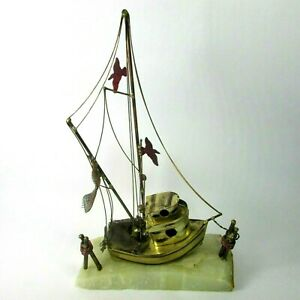 1970s Vintage Demott Brass Shrimp Fishing Boat Sculpture Onyx Base Signed gulls