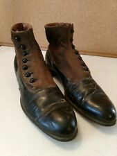 Rare Antique Victorian Ladies Two Tone Boots With Buttons