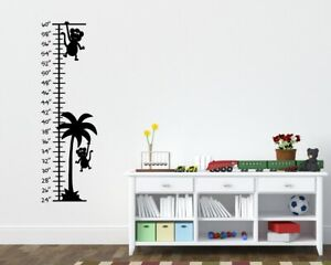 Monkey Growth Chart Childrens Room Kids Room Wall Ruler Palm Tree Grow Ruler Art