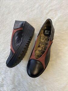 Fly London YAZ Wedge Platform Shoes Heels Size 40 US 9-9.5
