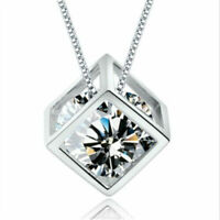 Magic Cube Silver Crystal chain Necklace Pendant Fashion Women Wedding Jewelry