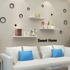 Pack of 3 Floating Wooden Wall Shelves Shelf Wall Storage 80cm - White New Uk