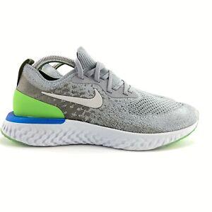 Nike Men's Epic React Flyknit Wolf Grey Lime Blast Run Shoes AQ0067-008 Size 8.5