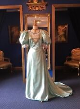 SUPERB THEATRICAL EDWARDIAN SATIN DRESS GOWN LATE VICTORIAN USED