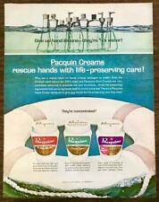 1964 Pacquins Hand Creams Print Ad Jars Floating on Life Ring Preserver