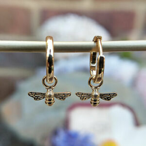 14ct Gold Plated Huggie Bee Charm Dangle Earrings, Vermeil Insect Hoops, Women's