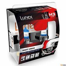 2x H3 Lunex NIGHT VISION 3600K 55W 12V Lampadine Faro Alogene PK22s Hard Case