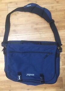 "Jansport Blue Canvas Computer Messenger Bag 16.5x12x4"" Good Condition W Strap"