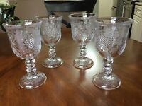 Four (4) Vintage Fostoria Heart And Floral Iced Tea Water Goblets For Avon 1978