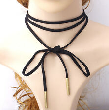 BLACK ROPE LEATHER CHOKER  KNOTTED TIE BOW NECKLACE MULTI LAYERS COLLAR