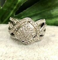 Large Square Shape CZ Cluster Ring,Unique,Engagement,Estate, Sterling Silver SS