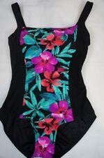 Beach Diva Control One Piece Sz 12 Black Floral Slimming Swimsuit EZ9165025