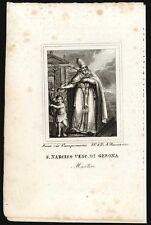 santino grabado 1800 S.NARCISO V. M DE GERONA