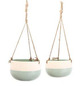 Set Of 2 Ceramic Hanging Plant Holder Hessian Rope Student Room Decor Plant Pot